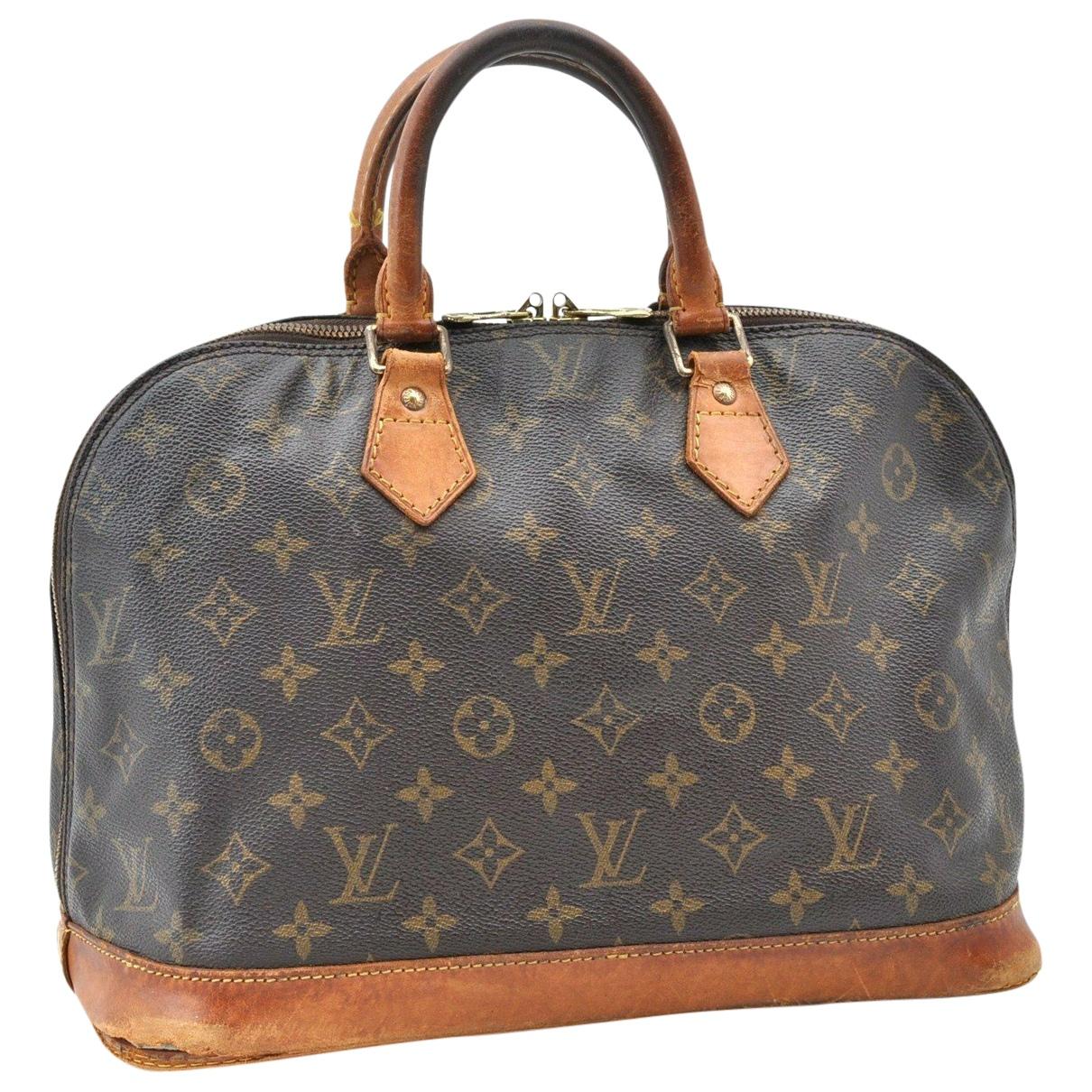 Louis Vuitton Alma Handtasche in  Braun Leinen