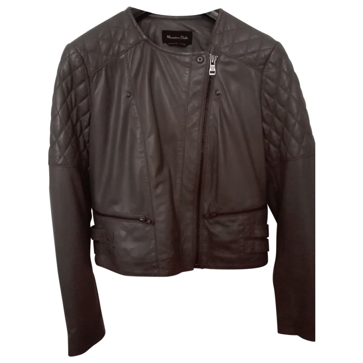 Massimo Dutti \N Anthracite Leather Leather jacket for Women M International