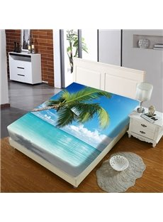 Coconut Trees By The Sea Reactive Printing 1-Piece Polyester Bed Cover / Mattress Cover