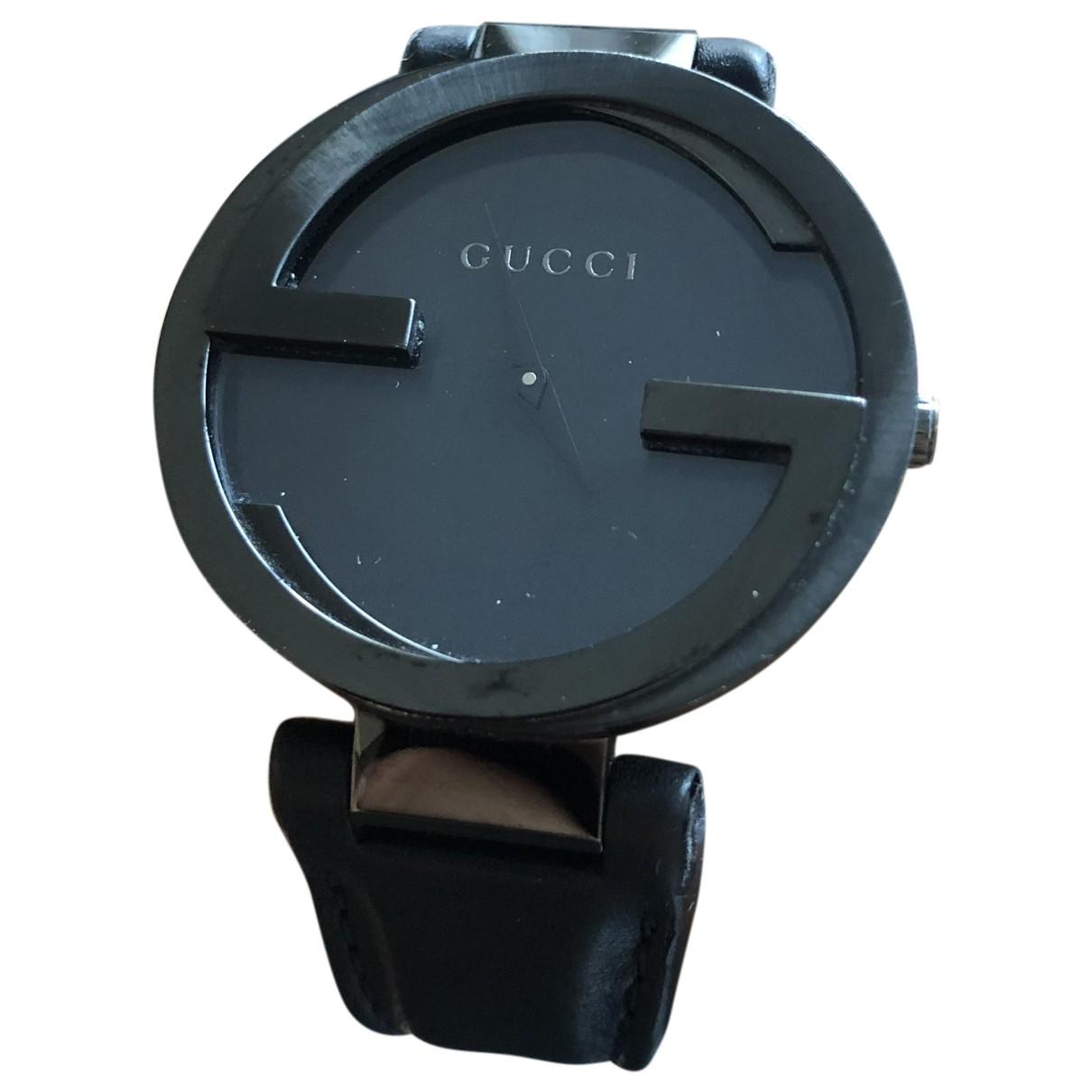 Gucci Interlocking Uhr in  Schwarz Stahl