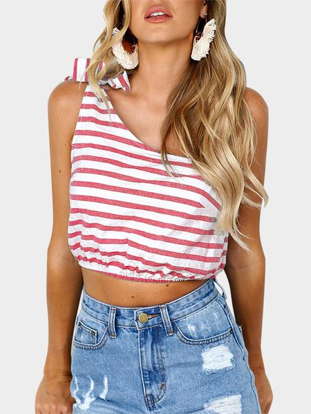Yoins Pink Self-tie Design Stripe One Shoulder Sleeveless Crop Top
