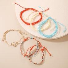 6pcs Triangle Decor String Bracelet