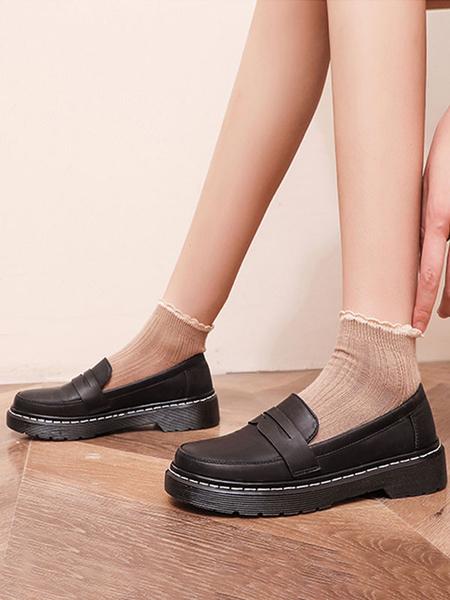 Milanoo Lolita Footwear Black PU Leather Flat Lolita Pumps