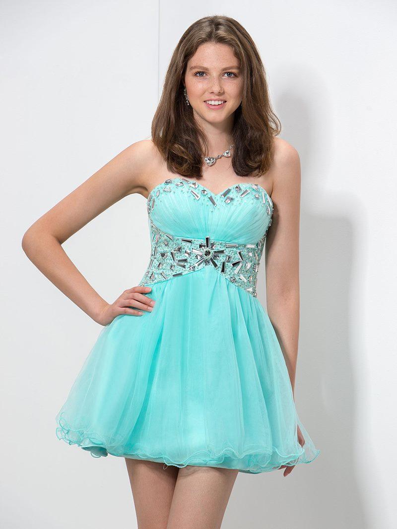 Ericdress Sweetheart Beaded Pleats Homecoming Dress