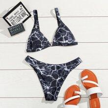 Marble Print Triangle Bikini Swimsuit