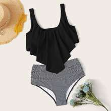Striped Hanky Hem High Waisted Bikini Swimsuit