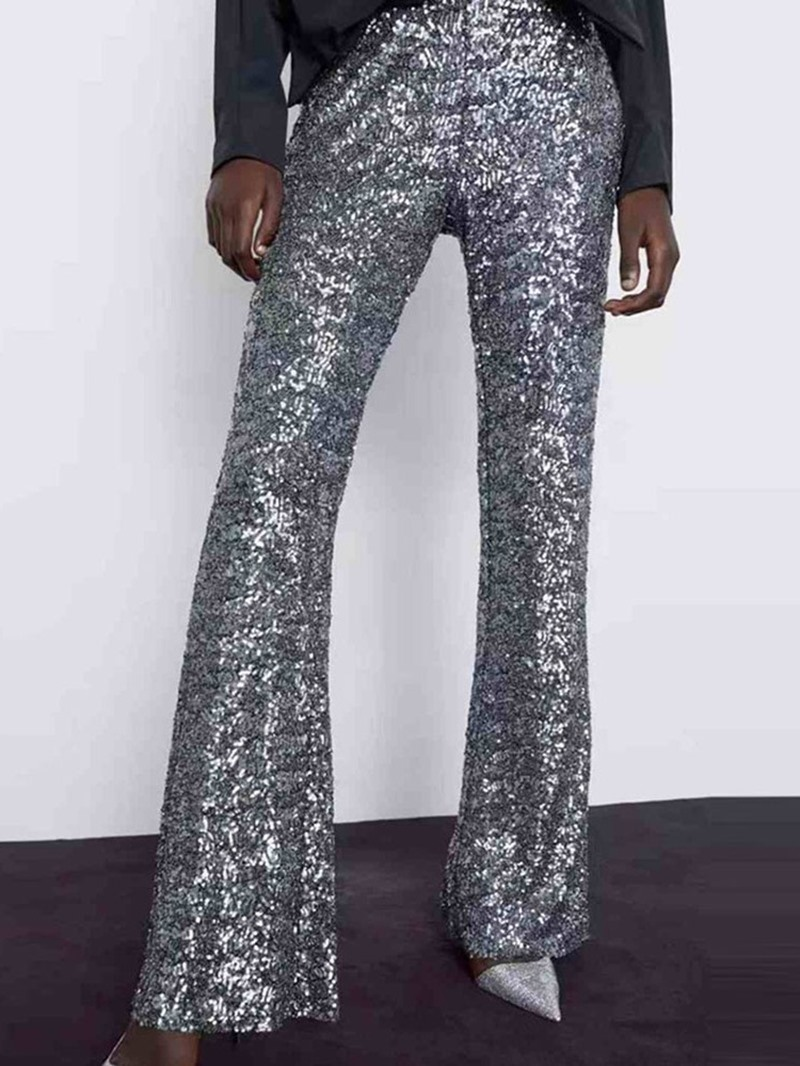 Ericdress Sequins Plain Slim Full Length Casual Pants