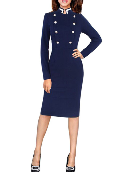 Milanoo Bodycon Dresses Color Block Dark Navy Stand Collar Buttons Military Retro Long Sleeves Pencil Dress