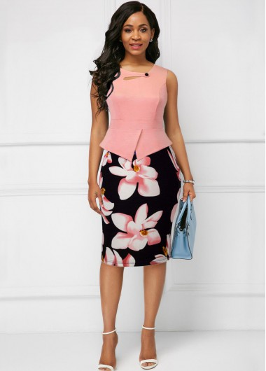 Women'S Pink Floral Printed Sleeveless Sheath Spring Dress Knee Length Button Detail Elegant Cocktail Party Dress By Rosewe - 18
