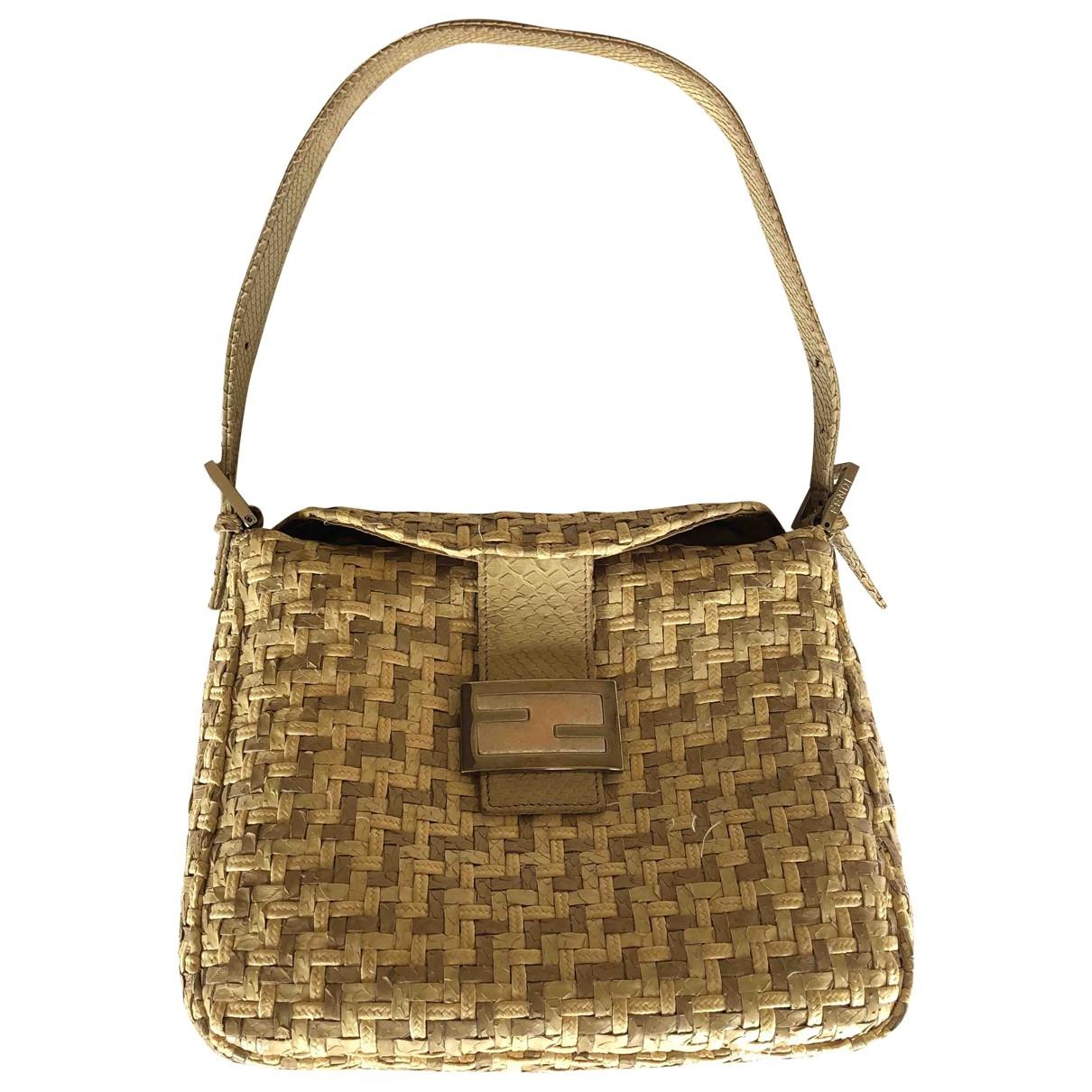 Fendi Mamma Baguette  Handtasche in  Beige Echse