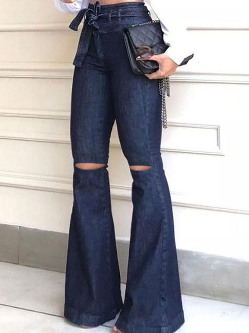 Ericdress Plain Bellbottoms Washable Slim Jeans