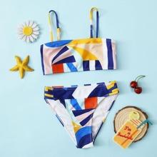 Bañador bikini con abertura con estampado geometrico