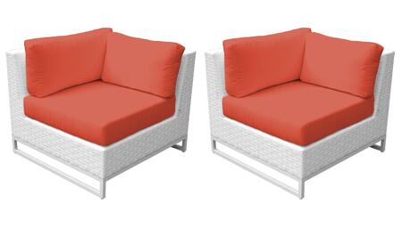 Miami TKC047b-CS-DB-TANGERINE Set of 2 Corner Chairs - Sail White and Tangerine