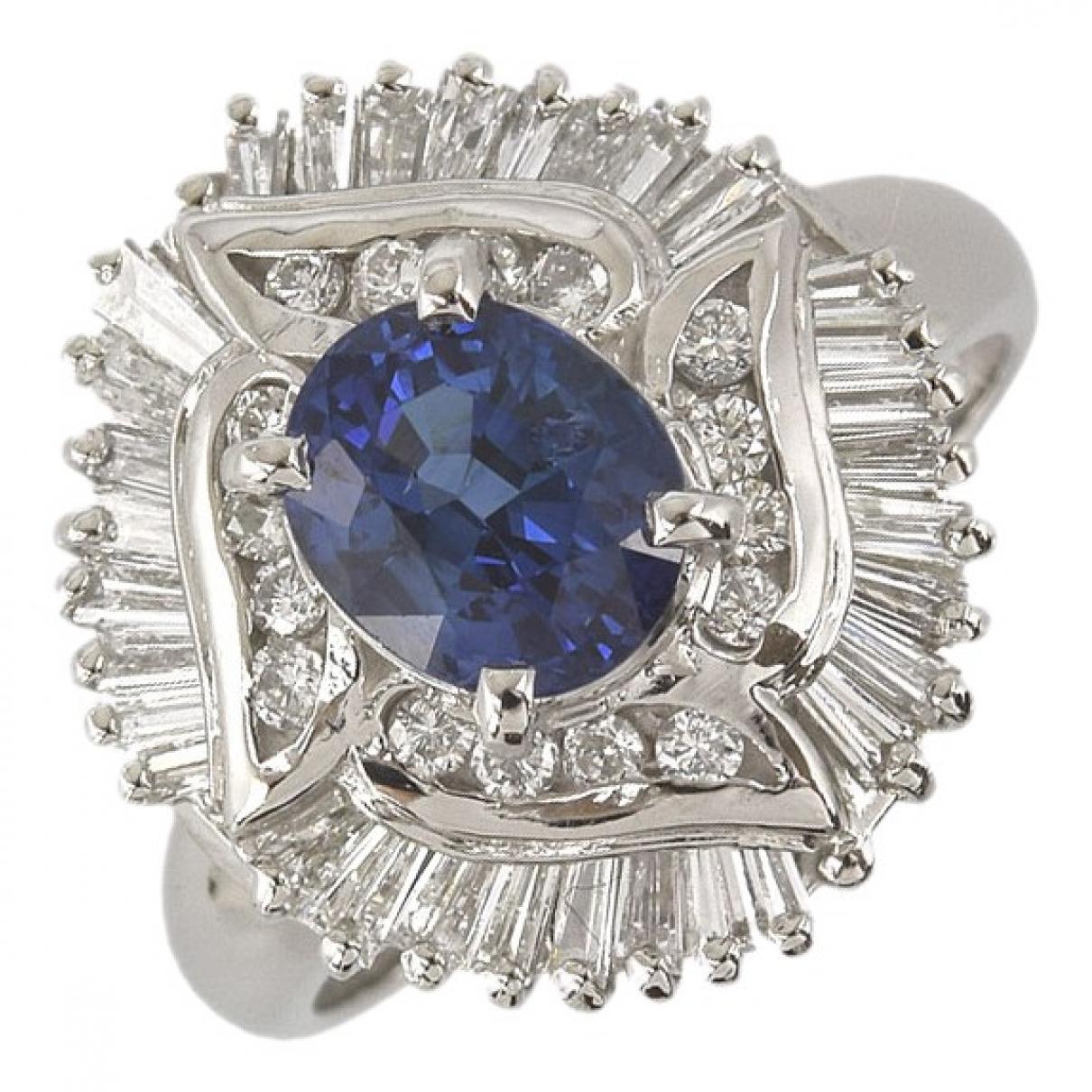 Non Signe / Unsigned Saphir Ring in  Marine Platin