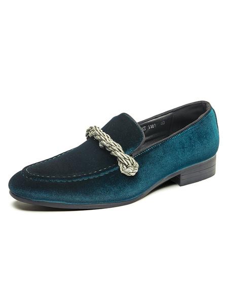 Milanoo Men\s Loafer Shoes Slip-On Monk Strap Velvet Round Toe PU Leather Dress Shoes