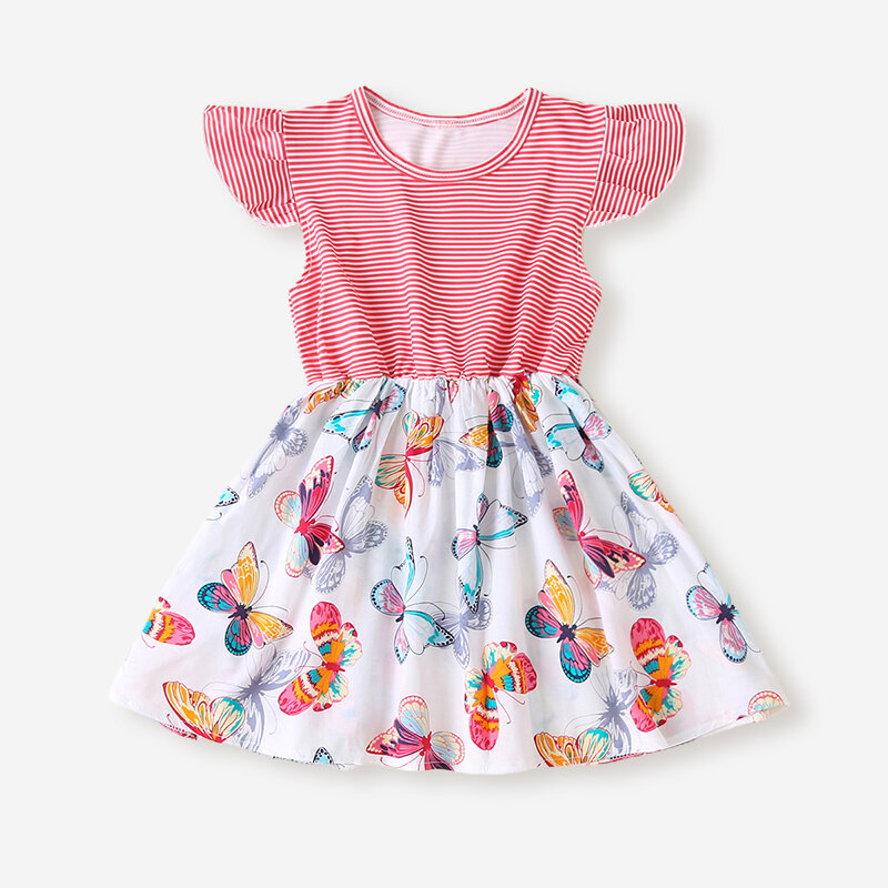 Girls Butterfly Striped Print Flying Sleeves Casual Dress For 2-8Y