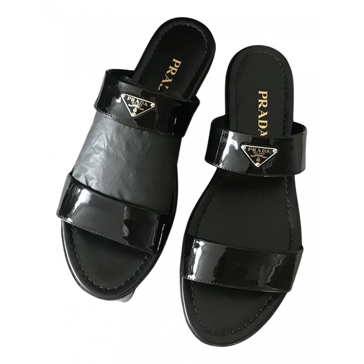 Prada \N Black Patent leather Sandals for Women 38.5 EU