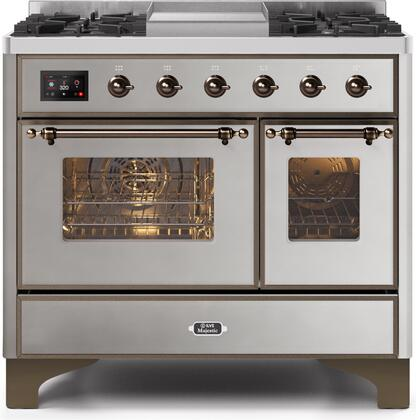 UMD10FDNS3SSB 40 Majestic II Series Dual Fuel Natural Gas Range with 6 Sealed Burners and Griddle  3.82 cu. ft. Total Oven Capacity  TFT Oven