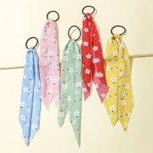 5pcs Girls Floral Pattern Hair Tie