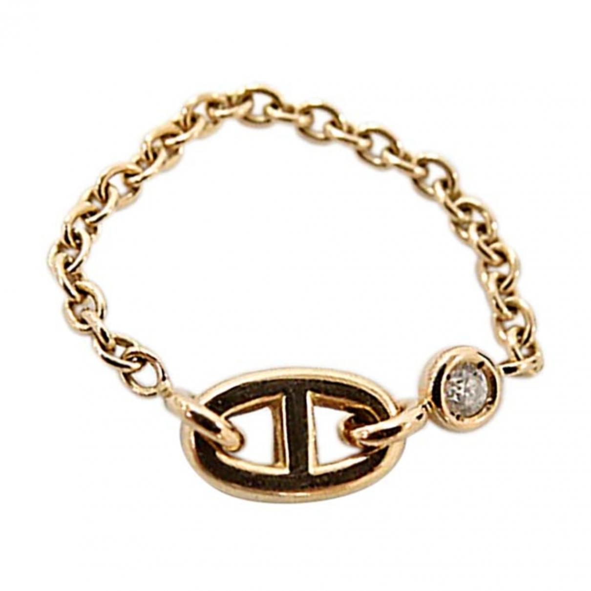 Hermes - Bague Chaine dAncre pour femme en or jaune - dore