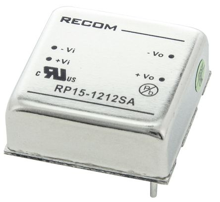 Recom RP15 A 15W Isolated DC-DC Converter Through Hole, Voltage in 9 → 18 V dc, Voltage out 12V dc