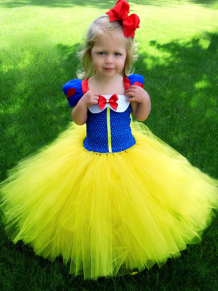 Milanoo Snow White Flower Girl Dresses Square Neck Polyester Short Sleeves Tea Length A Line Tulle Kids Party Dresses