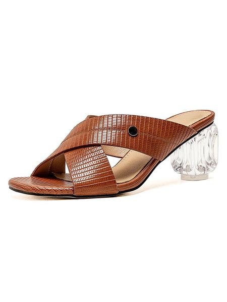 Milanoo Clear Heels Slipper Sandals Block Heel Open Toe Womens Plus Size Shoes