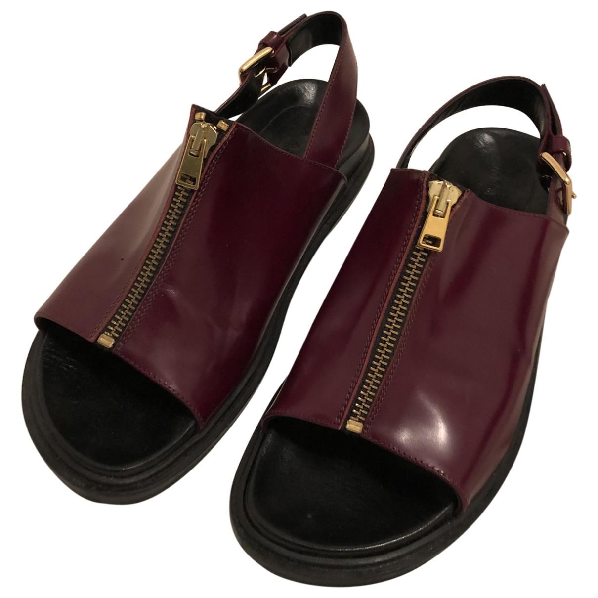 Marni - Sandales   pour femme en cuir - bordeaux