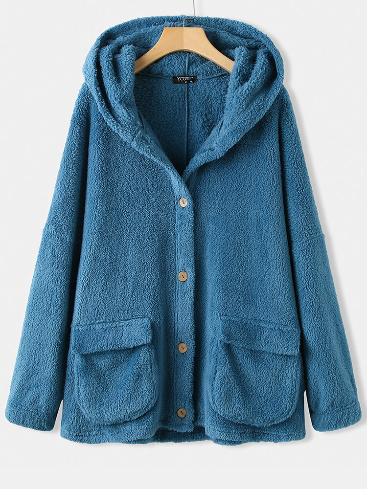 Solid Color Long Sleeve Button Hooded Plush Coat With Pocket