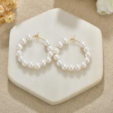 Faux Pearl Beaded Hoop Earrings
