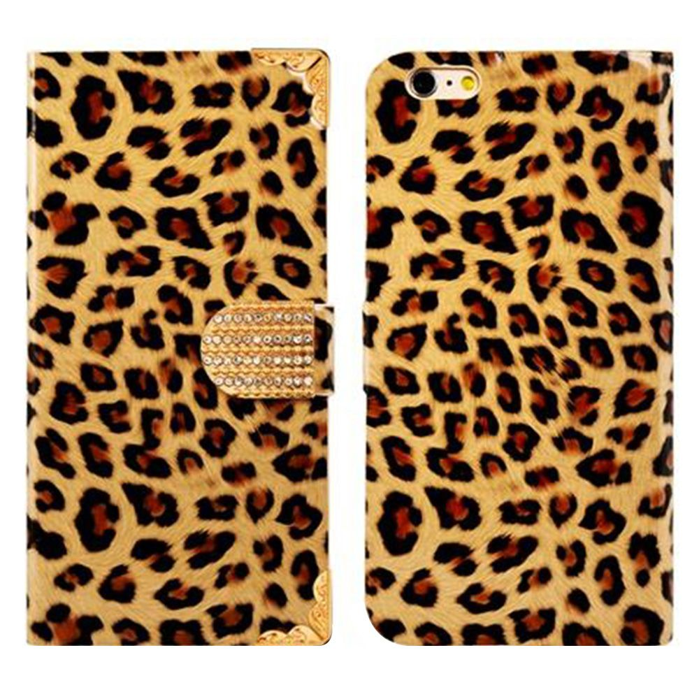 Leopard Pattern Faux Leather Flip Case with Mount Stand & Credit Card Slots for 5.5