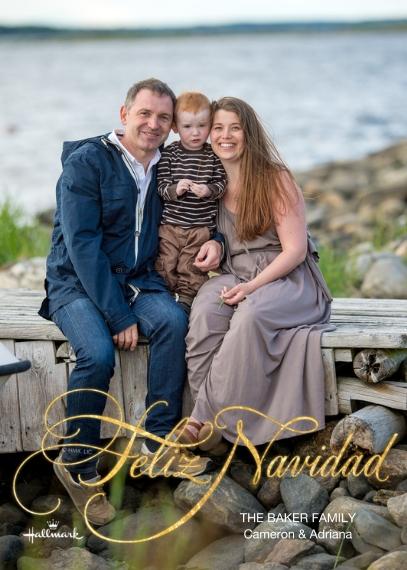 Christmas Photo Cards 5x7 Cards, Premium Cardstock 120lb with Elegant Corners, Card & Stationery -Gold Feliz Navidad