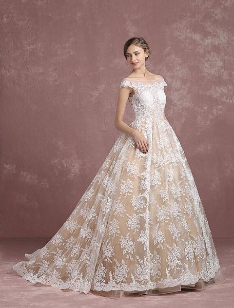 Milanoo Lace Wedding Dress Champagne Bridal Gown Bateau Illusion Neckline Lace Up Short Sleeve Princess Bridal Dress With Chapel Train