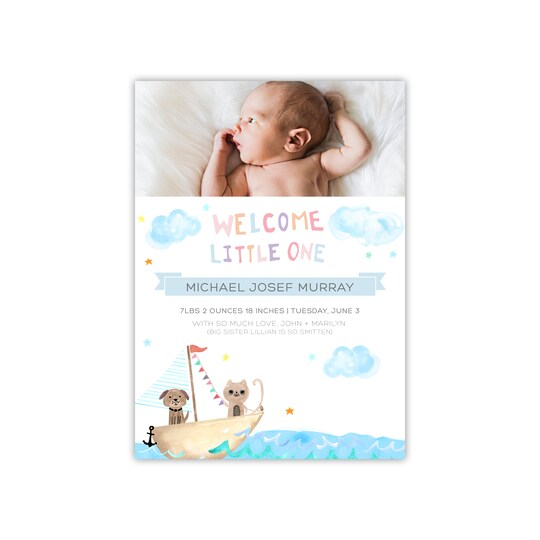 20 Pack of Gartner Studios® Personalized High Seas Flat Baby Announcement in Baby Blue | 5
