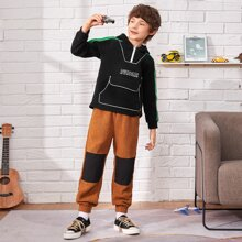 Boys Letter Graphic Contrast Side Seam Zipper Front Hoodie