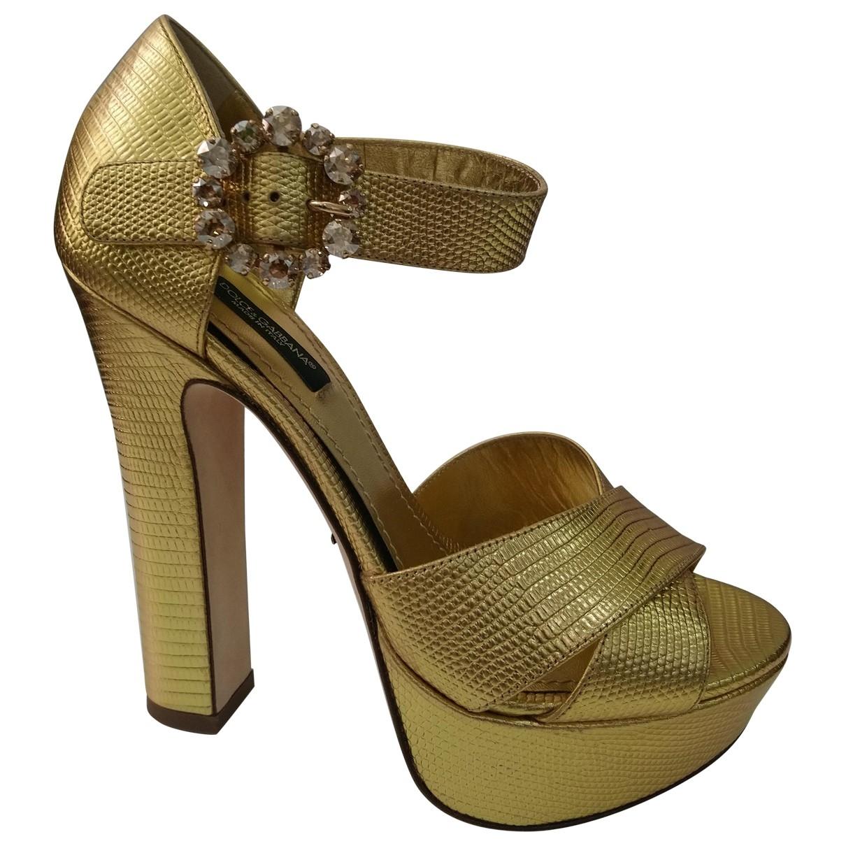 Dolce & Gabbana - Sandales   pour femme en cuir - dore