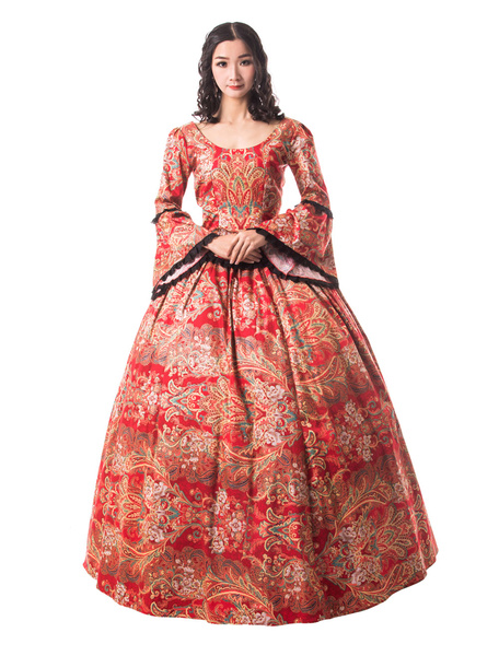 Milanoo Victorian Dress Costume Women's Ture Red Trumpet long Sleeves Ruffle Floral Print Victorian Era Style Set Vintage Clothing Halloween