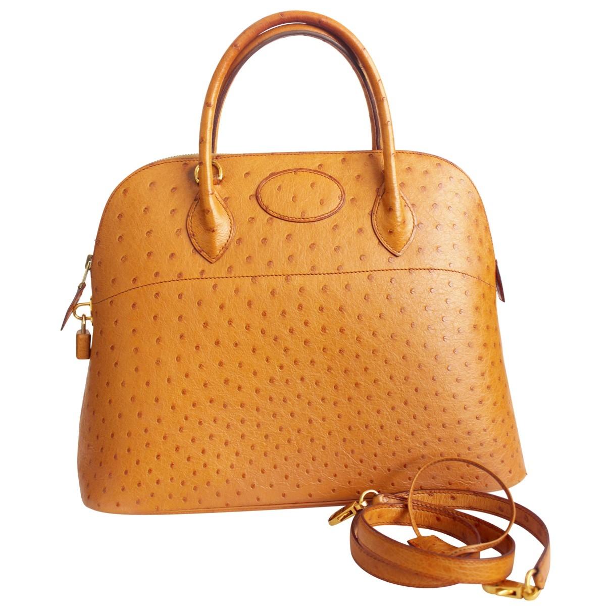 Hermes Bolide Handtasche in  Gold Vogelstrauss