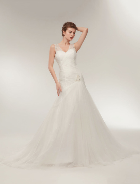 Milanoo Wedding Dresses Dropped Waist Mermaid Bridal Dress V Neck Tulle Beaded Trumpet Wedding Gown With Train