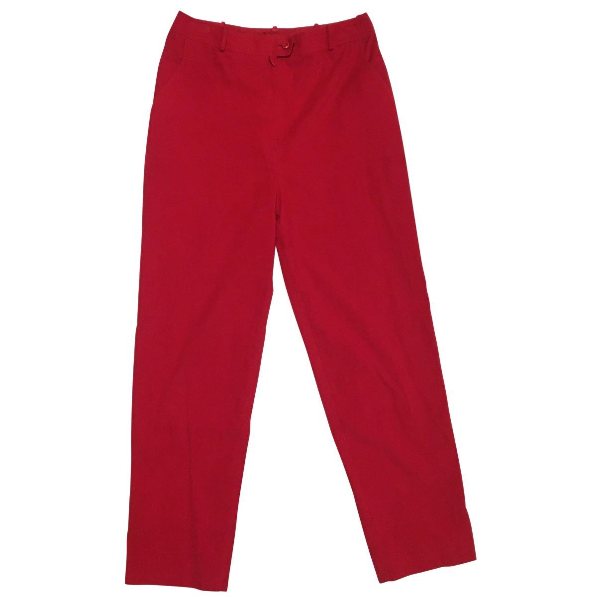 Pierre Balmain \N Red Velvet Trousers for Women 40 FR