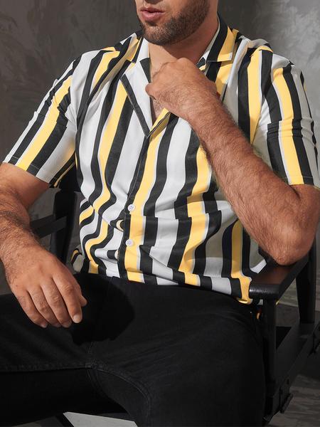 Yoins Men Summer Fashion Casual Striped Pattern Printing Short Sleeve Shirt