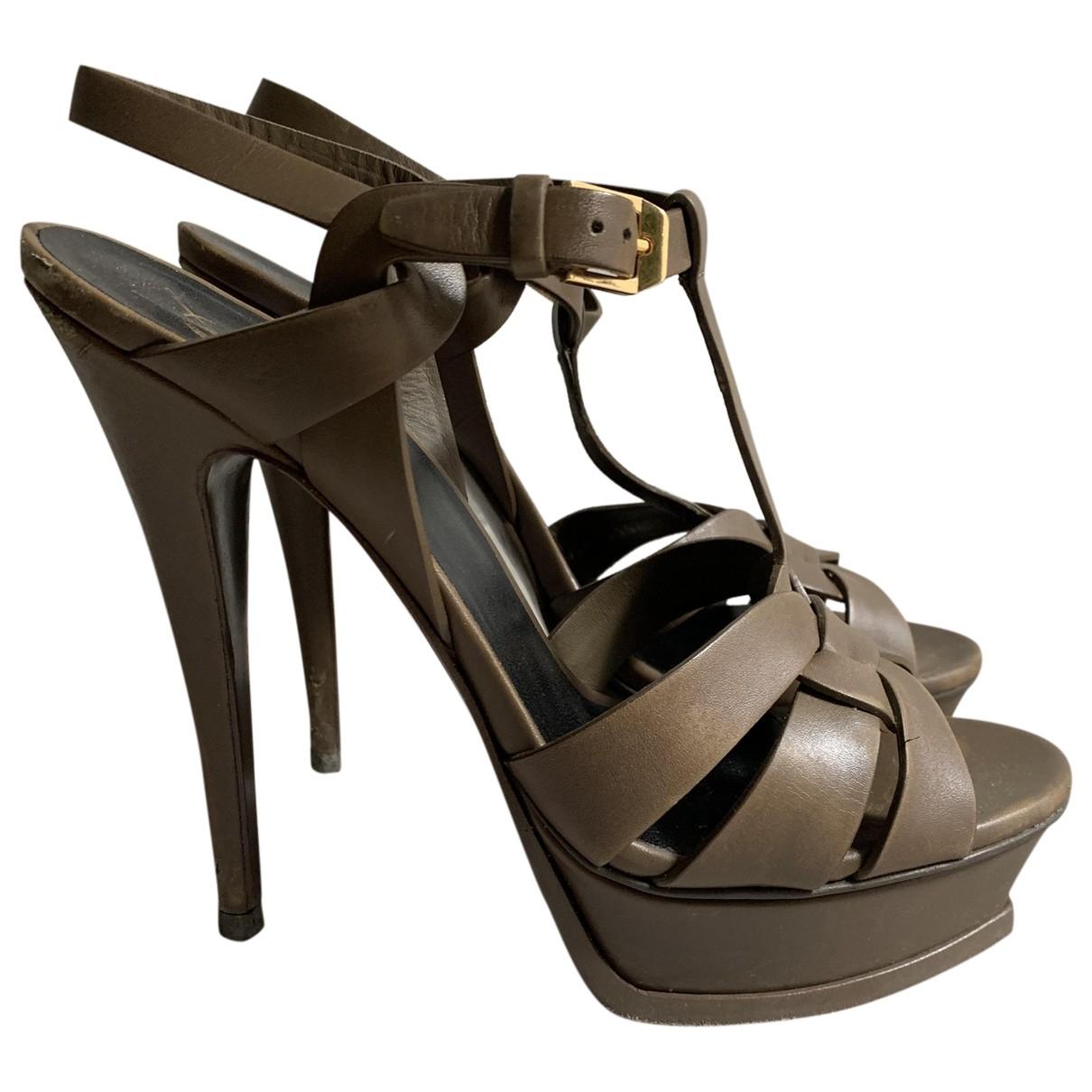 Saint Laurent Tribute Green Leather Sandals for Women 39 IT