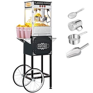 8oz Large Capacity Retro Popcorn Machine with Cart Full Machine for Home, Family, Party(1/2 Door) (Single Door - Black)
