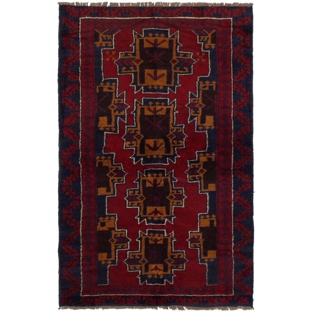 ECARPETGALLERY Hand-knotted Teimani Red Wool Rug - 3'2 x 5'10 (Red - 3'2 x 5'10)