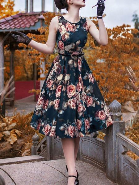Milanoo 1950s Costume Women Vintage Dress Floral Print Swing Dress