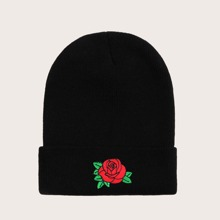 Rose Embroidery Beanie