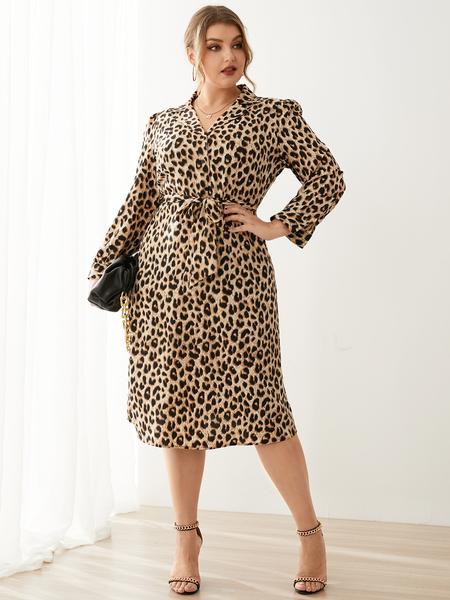 YOINS Plus Size Lapel Collar Leopard Belt Design Long Sleeves Midi Dress