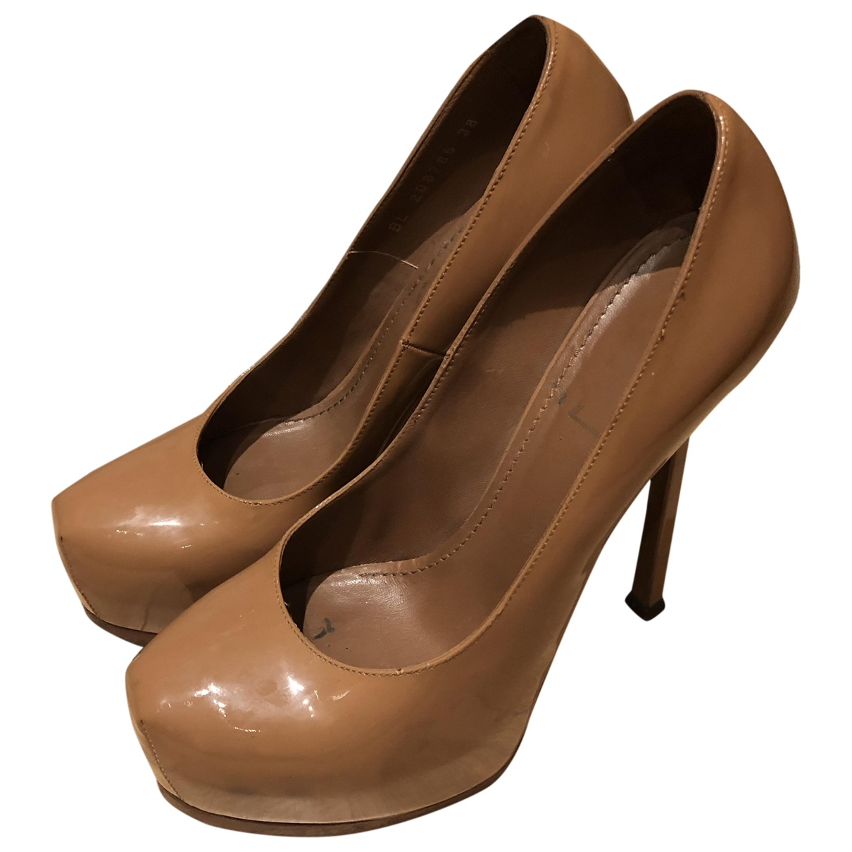 Yves Saint Laurent Trib Too Beige Patent leather Heels for Women 38 EU