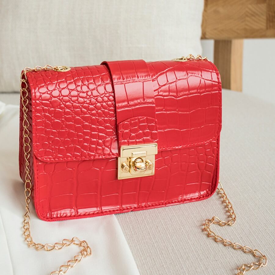 LW Lovely Chic Chain Strap Red Crossbody Bag