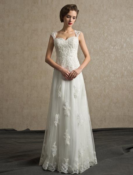 Milanoo Vestido de novia de tul con tirantes y cuentas